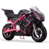 pink electric pocket bike right side view