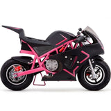 pink electric pocket bike right side