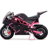 pink electric pocket bike left view