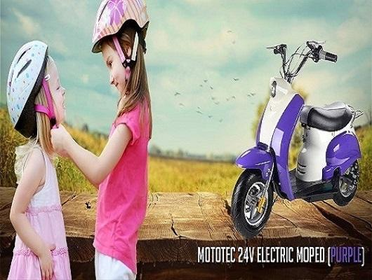 Purple Electric Moped
