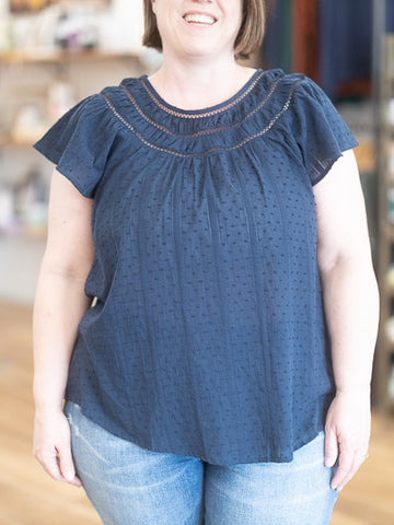 Curvy Lenora Lace Inset Top- Navy