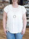 Curvy Lenora Lace Inset Top- White