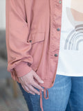 Curvy Joliet Snap Button Jacket- Terracotta