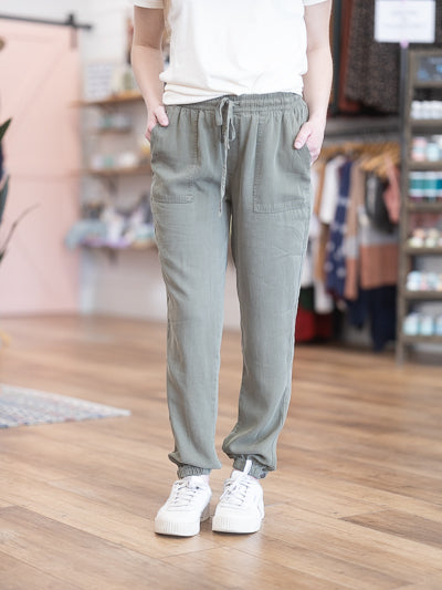 olive, drawstring, jogger pant with pockets