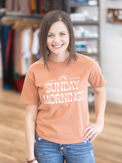 "rust orange, ""easy like sunday morning"" graphic tee"