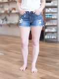 mid rise, distressed, denim shorts