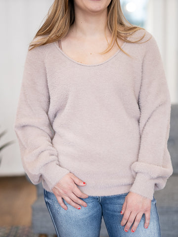 Frederick Fuzzy Sweater - Vintage Mauve