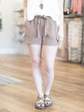 mocha tencel drawstring shorts