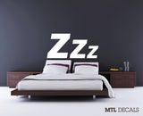 "Zzz Bedroom Wall Decal / Typography Wall Sticker (61"" x 29"")"