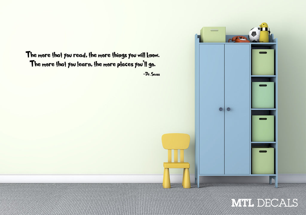 "Dr Seuss Wall Decal Wall Quote Sticker (36"" x 6.6"")"