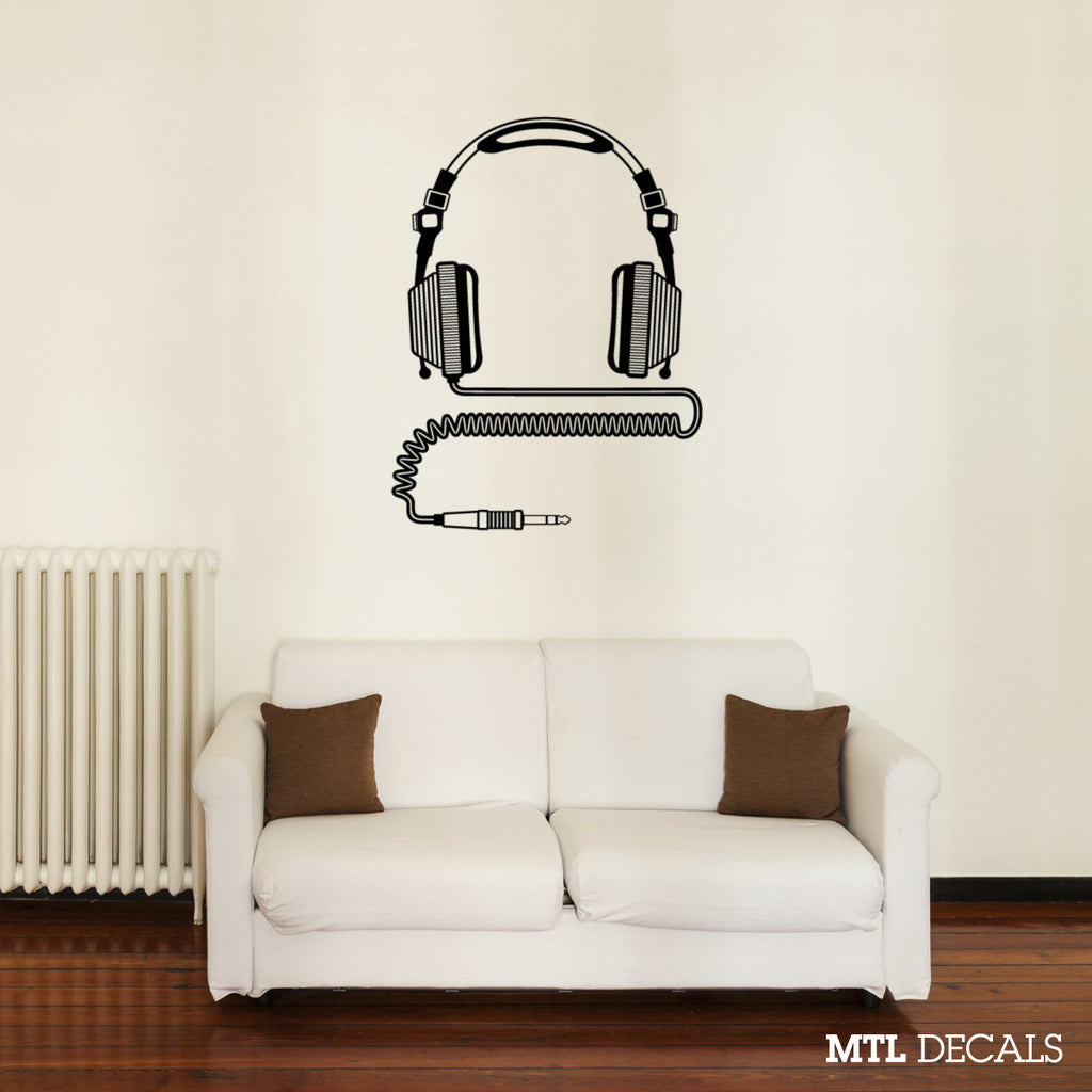 "Headphones Wall Decal / DJ Wall Sticker (30"" x 40"")"