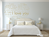 "International I Love You Heart Wall Decal / Bedroom Wall Decor / Wall Sticker (72""x66.7"") / Home / Gift Ideas / Wedding Gifts"