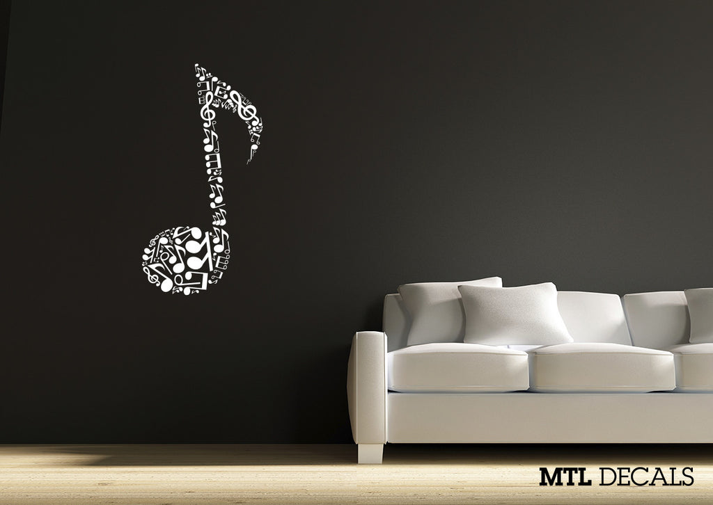 "Eighth Note Wall Decal / Musical Note Wall Vinyl Sticker (22"" x 37"")"