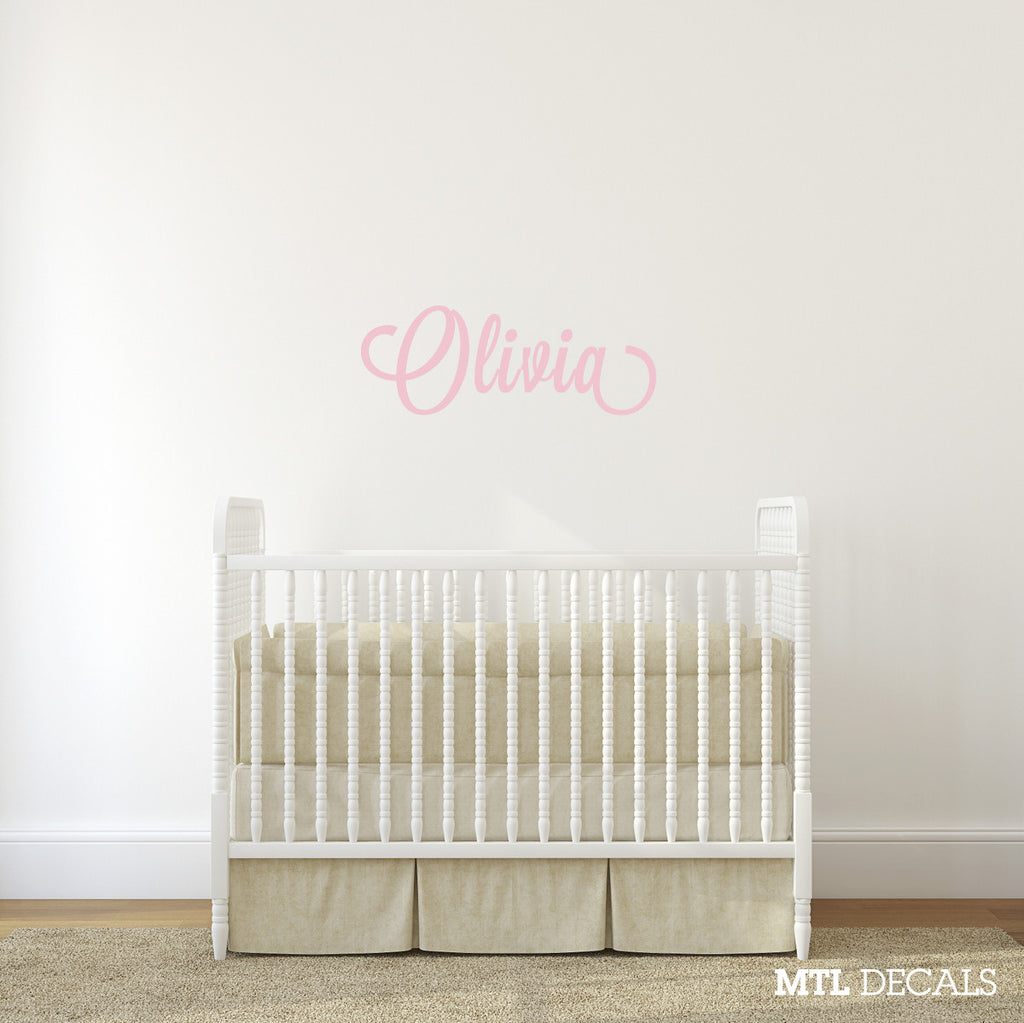 name wall decal nursery wall sticker personalized vinyl lettering mtl decals. Black Bedroom Furniture Sets. Home Design Ideas