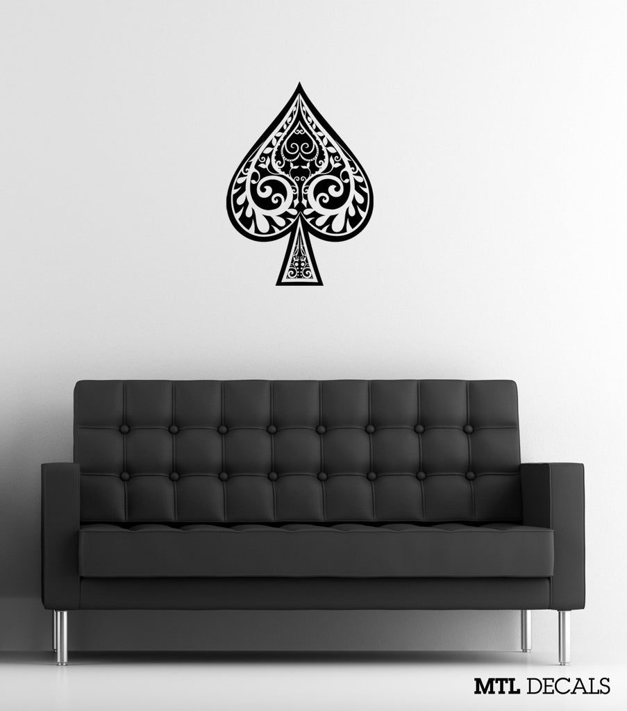 "Spade Wall Decal / Decorative Poker Wall Sticker (18"" x 24.8"")"