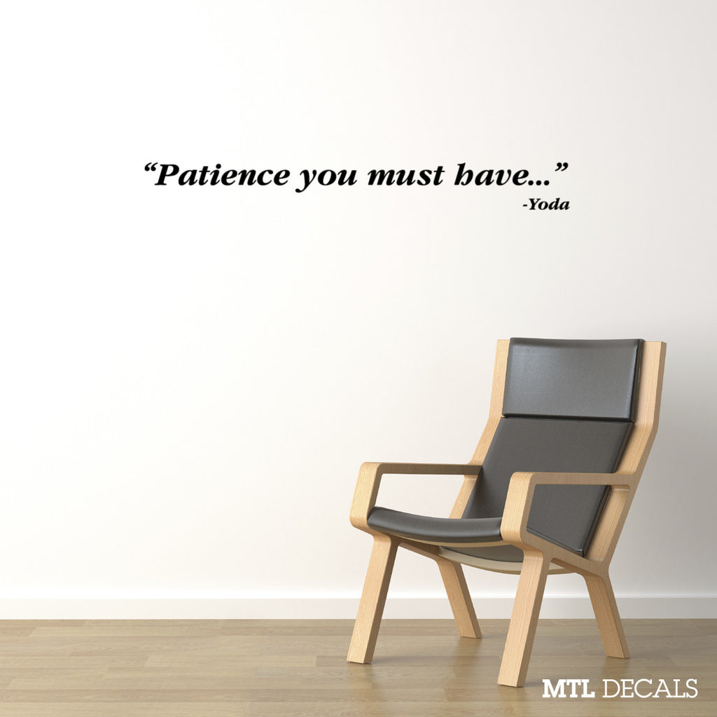 "Star Wars Patience Wall Decal / Yoda Wall Quote Sticker (36"" x 4"")"