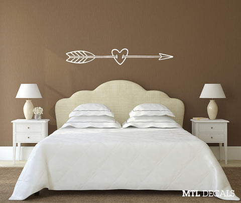 "Arrow and Heart Wall Decal / Bedroom Love Wall Sticker / Removable Wall Sticker (60"" x 9.13"")"