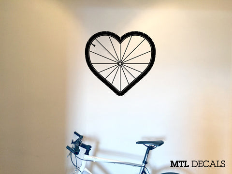 "Bike Love Wall Decal / Cycling Wall Sticker (W 21"" x H 19.25"")"