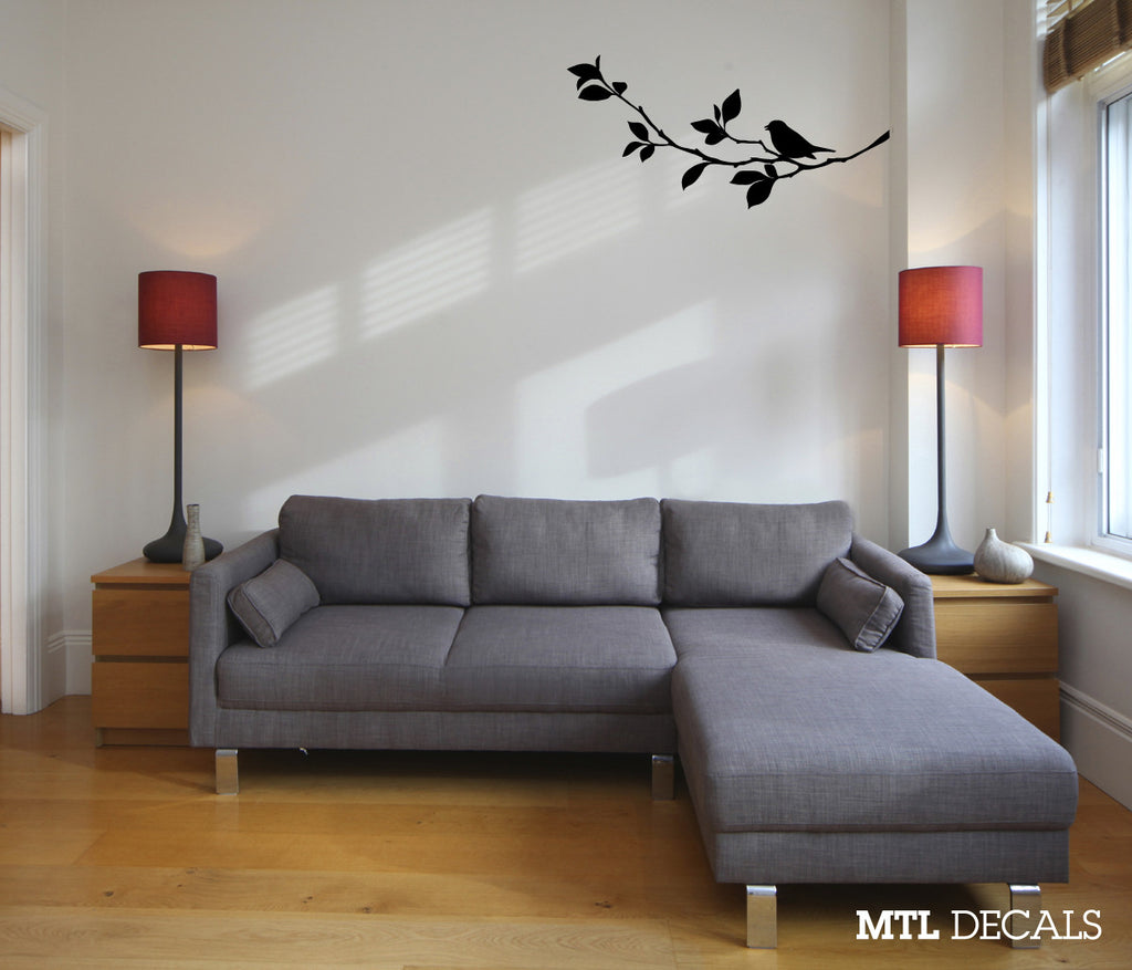 Bird On Branch Wall Decal Sticker Removable Wall Decor Art Decoration DIY Nature