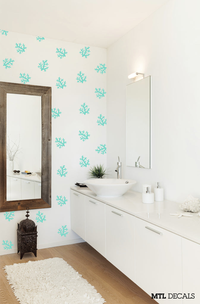 40 X Coral Pattern Wall Decal / Bathroom Wall Sticker – MTL Decals