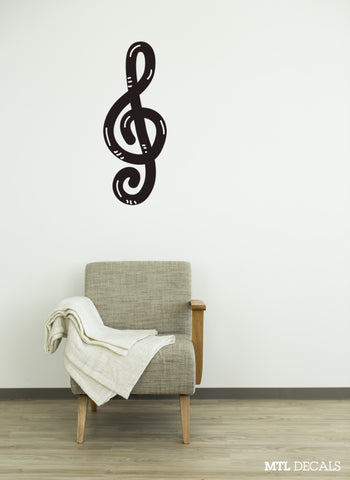 "G Clef Wall Decal / Music Treble Clef Wall Sticker (18"" x 46.5"")"