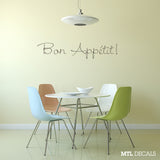 Bon Appetit Wall Decal Sticker Kitchen Dining Room Home Decor Removable Interior Wall Art Design