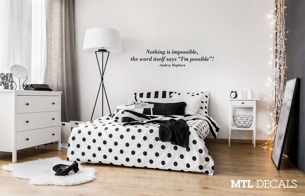 Nothing is Impossible Wall Decal, Audrey Hepburn Wall Quote Sticker, Wall  Decor, Bedroom Decoration, Gift Ideas