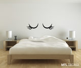 Sleepy Eyes Wall Decal / Cute Eyelashes Bedroom Wall Sticker / Home Decor / Gift Ideas