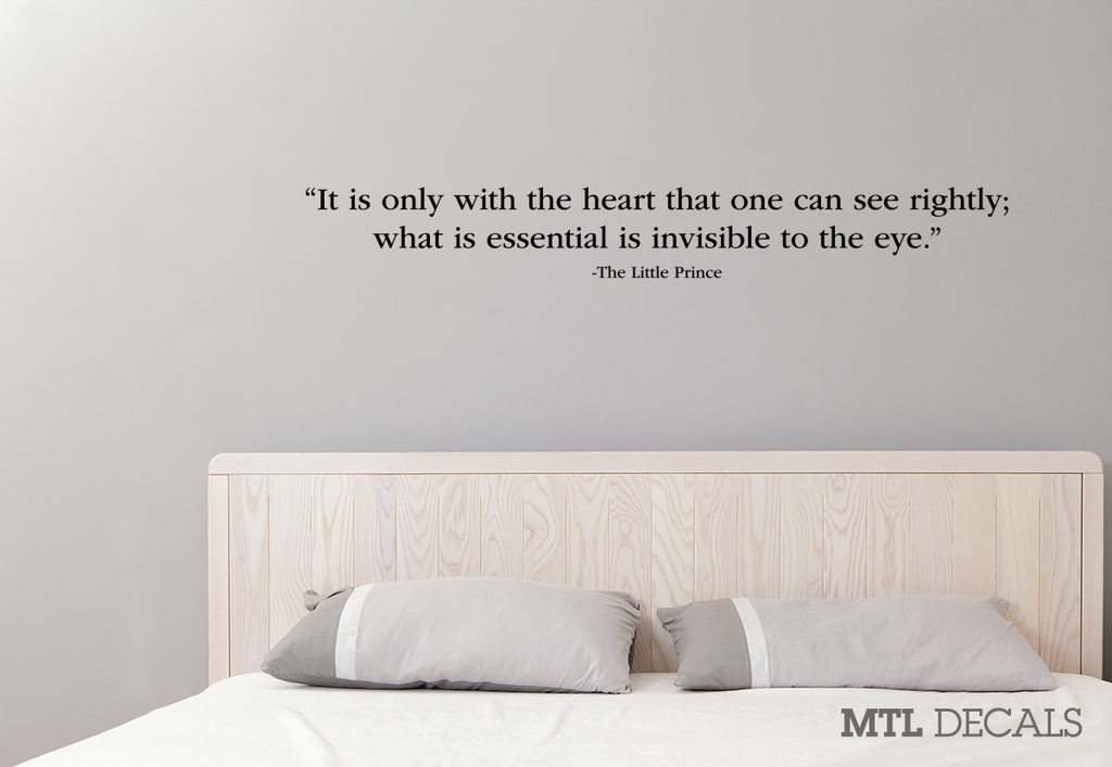 The Little Prince Wall Decal Quote / Heart Wall Sticker / Antoine de Saint-Exupéry / Le Petit Prince