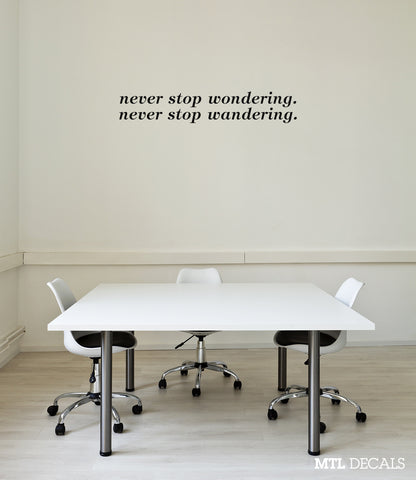 Never Stop Wondering Wall Decal / Wall Decor / Wall Quote Sticker