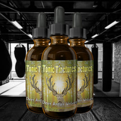 3 pack Deer Antler Velvet Supplement with dark Gym Background