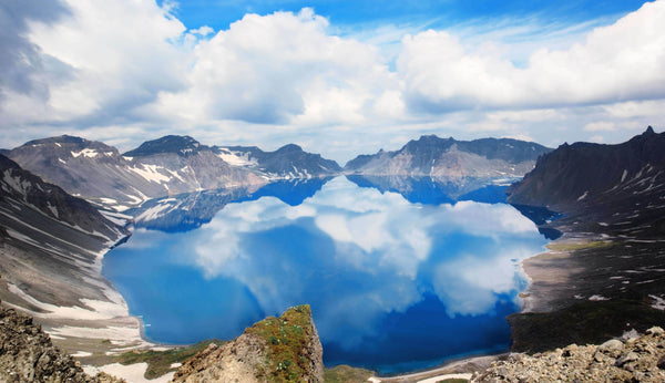Heaven Lake, or Sky Lake, at the Top of Changbai Mountain Feeds the Surrounding Valleys