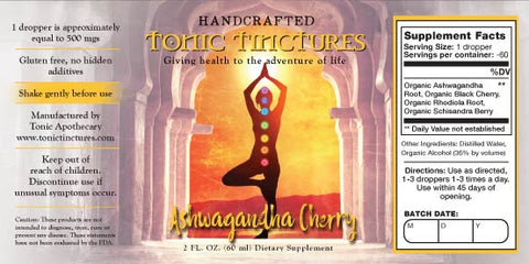 Tonic Tinctures Ashwagandha Cherry Liquid Extract Supplement Label