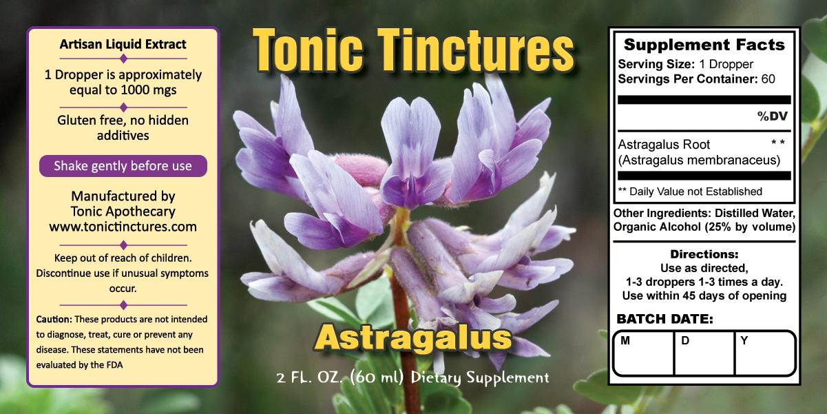 Tonic Tinctures Astragalus Liquid Extract Supplement Label