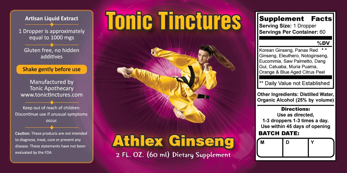 Tonic Tinctures Athlex Ginseng for Women Liquid Extract Supplement Label