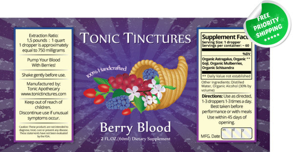 Berry Blood Liquid Extract Tincture Supplement Label