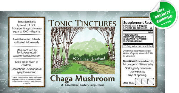 Chaga Mushroom Inonotus Obliquus Liquid Extract Tincture Supplement Label