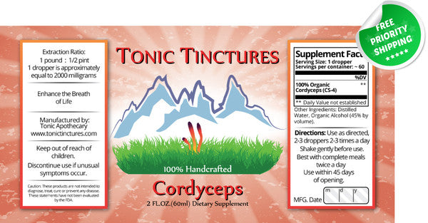 Cordyceps Sinensis Mushroom Liquid Extract Tincture Supplement Label