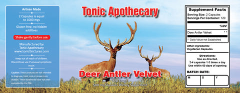 Tonic Tinctures Apothecary Deer Antler Velvet Capsules Supplement Label 120ct 500mgs