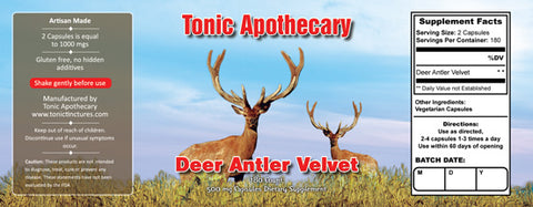 Tonic Tinctures Apothecary Deer Antler Velvet Capsules Supplement Label 180ct 500mgs