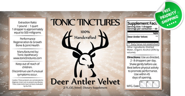 Deer Antler Velvet Extract Liquid Spray Supplement Label