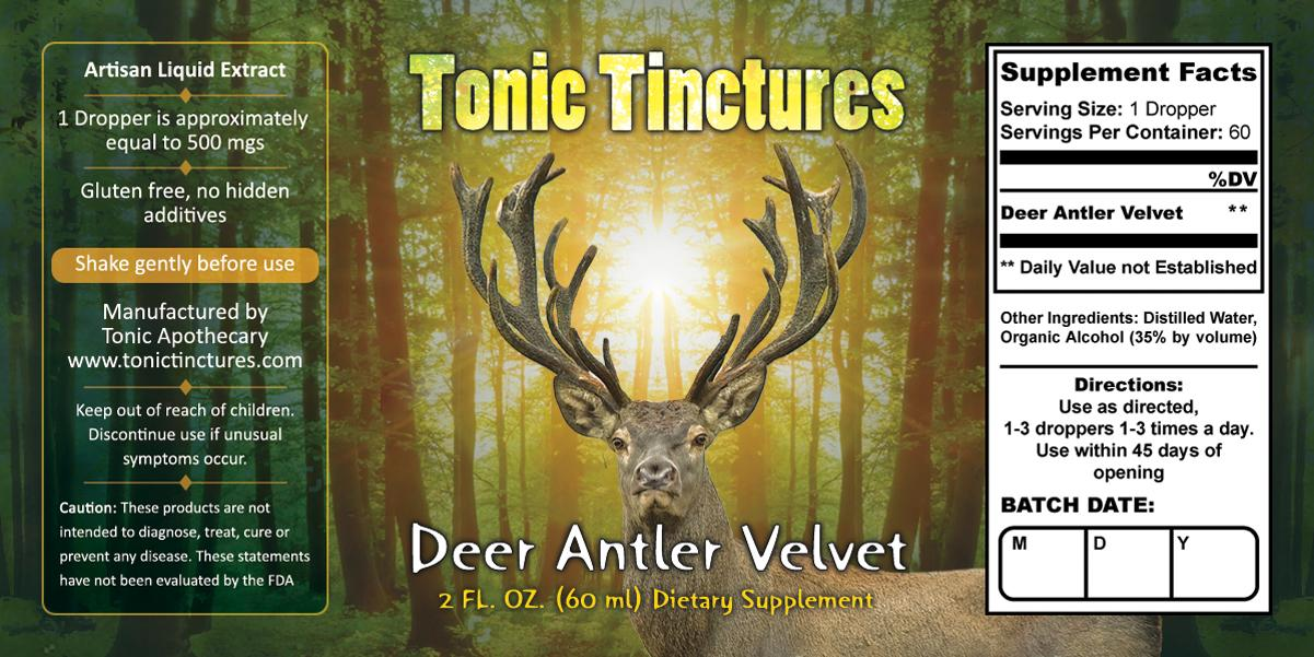 Tonic Tinctures Deer Antler Velvet Supplement Label