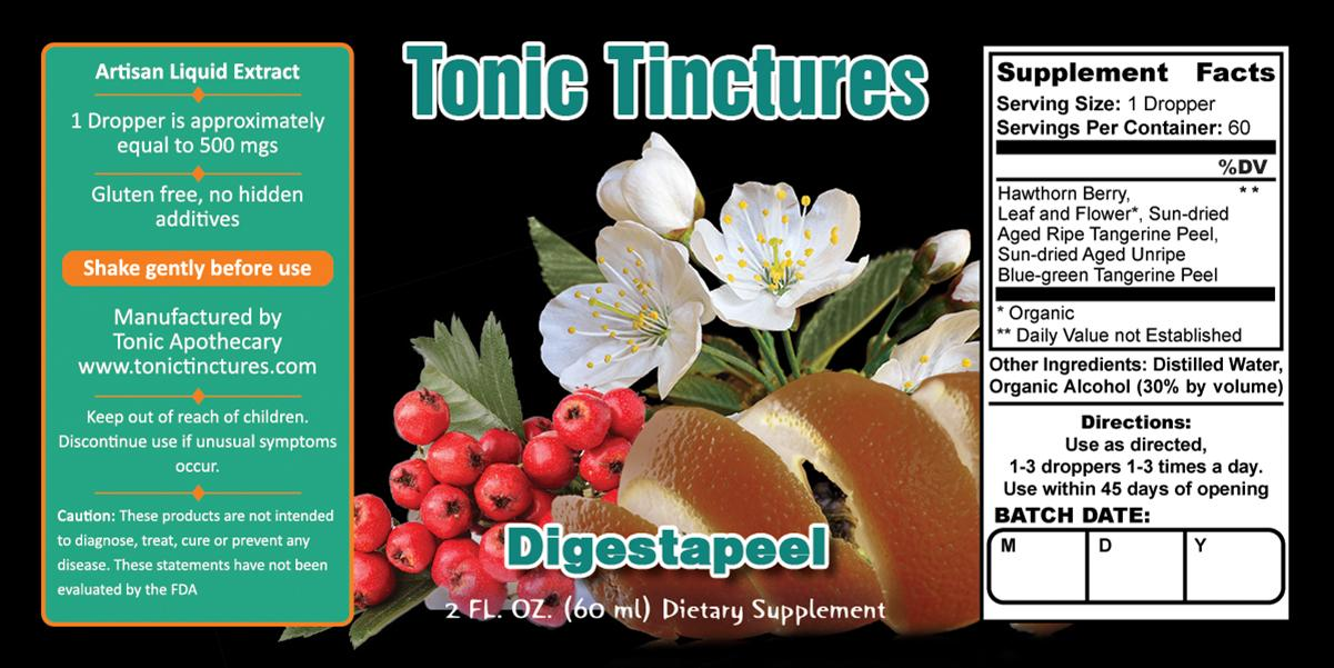 Tonic Tinctures Digestapeel Liquid Extract Supplement Label