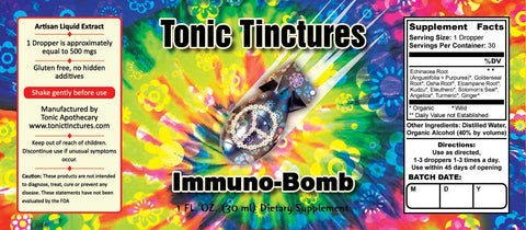 Tonic Tinctures Immuno Bomb Liquid Extract Supplement Label