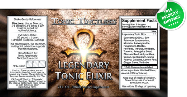 Legendary Tonic Elixir Liquid Extract Supplement Label
