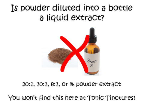 Standardized Powder 20:1, 10:1, 8:1, or % Liquid Fluid Extract Tinctures