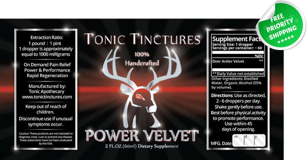 Power Deer Antler Velvet IGF-1 Pantocrin Liquid Extract Tincture Spray Supplement Label