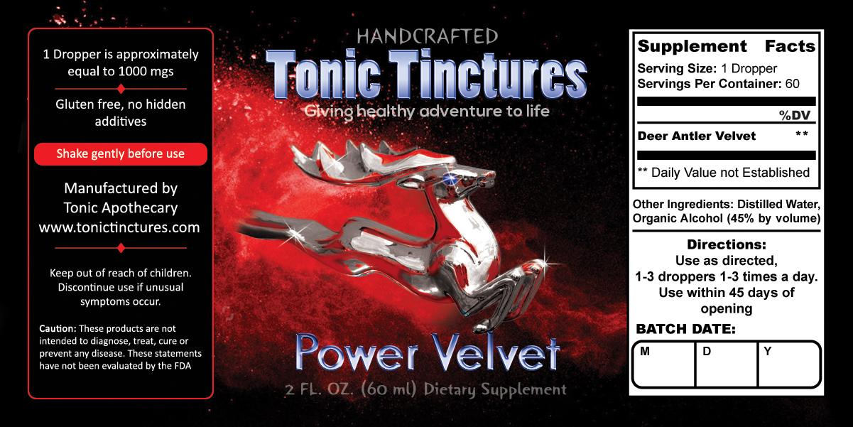 Tonic Tinctures Power Velvet Liquid Extract Supplement Label