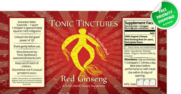Red Panax Ginseng Root Liquid Extract Tincture Supplement Label