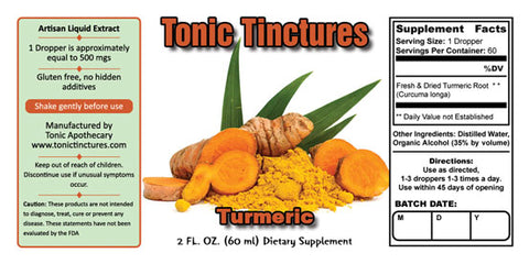 Tonic Tinctures Turmeric Liquid Extract Supplement Label